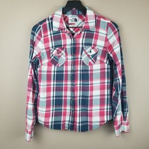 The North Face Pink and Blue Button Front Flannel